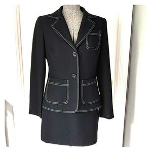 Bebe Black & White Contract Stitch Skirt Suit 6/8